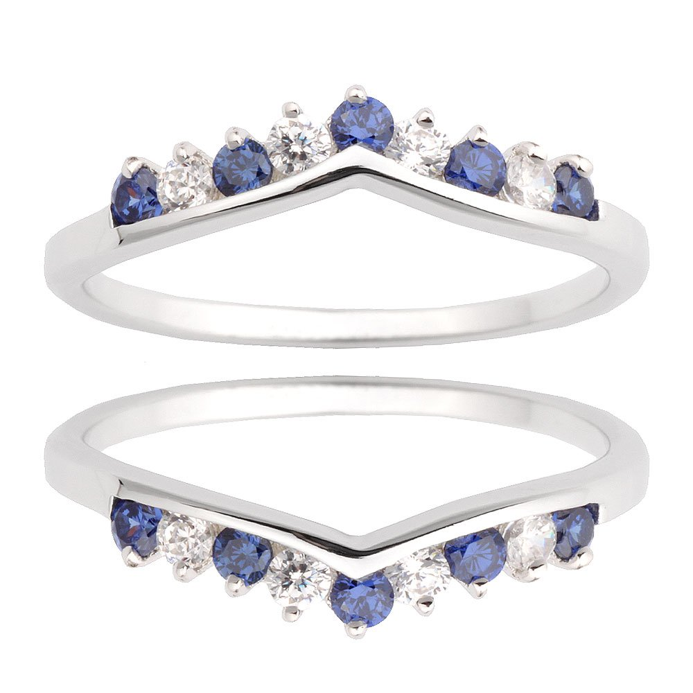 Two Pieces Sterling Silver 925 Round Shape Blue Cubic Zirconia Wedding Ring Guard Size 7