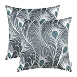 Pack of 2 CaliTime Throw Pillow Covers Cases for Couch Sofa Home Decor, Modern Peacock Feathers, 18 X 18 Inches, Grey