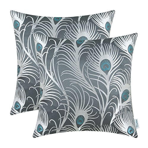 - CaliTime Pack of 2 Throw Pillow Covers Cases Couch Sofa Home Decoration Modern Peacock Feathers 18 X 18 inches Grey