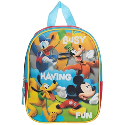 "Mickey Mouse Toddler Boys Backpack Book Bag Preschool Mini 10"" + Name Tag 