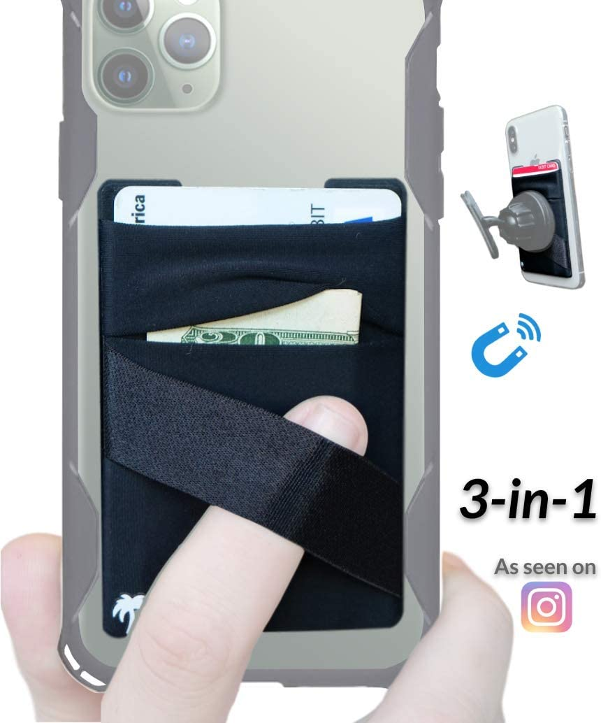 New 3-in-1 Stick On Wallet for Any Phone Case | Unique: Spandex + Mounts to Magnets + Double-Pocket + Finger Strap + RFID Block – Strong 3M Sticky + Magnetic (Black, 1 Pack)