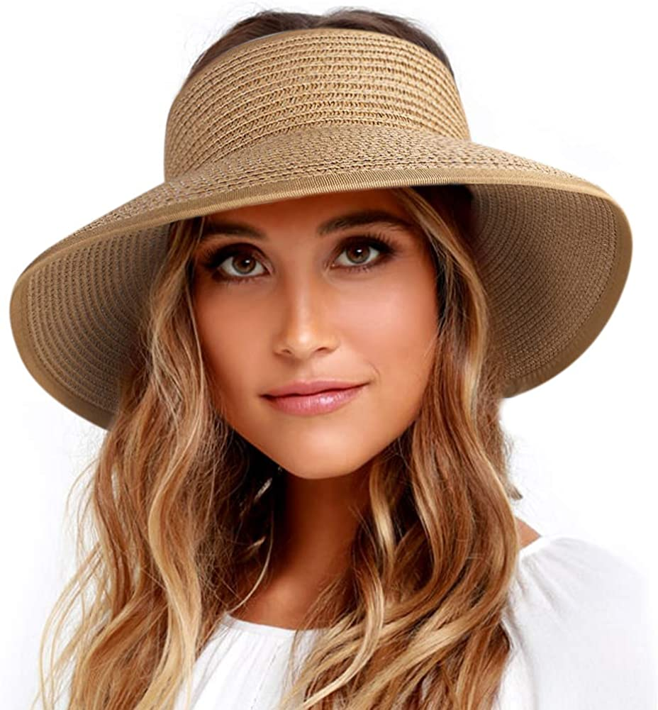 FURTALK Roll Up Sun Visor Wide Brim Straw Hats for Women Ponytail Summer Beach Hat UV UPF Travel Foldable Packable (One Size, Pure Khaki) at  Women's Clothing store