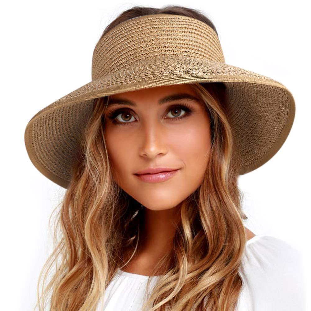 Roll Up Sun Visor Wide Brim Straw Hats for Women Ponytail Summer Beach Hat UV UPF Travel Foldable Packable FURTALK (One Size, Pure Khaki)