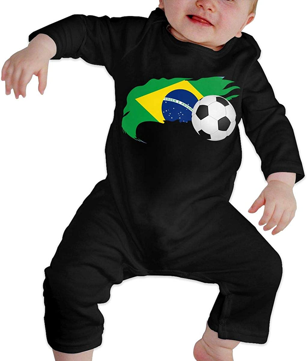 Soccer Ball with Brazil Flag Printed Newborn Infant Baby Boy Girl Bodysuit Long Sleeve Rompers Black