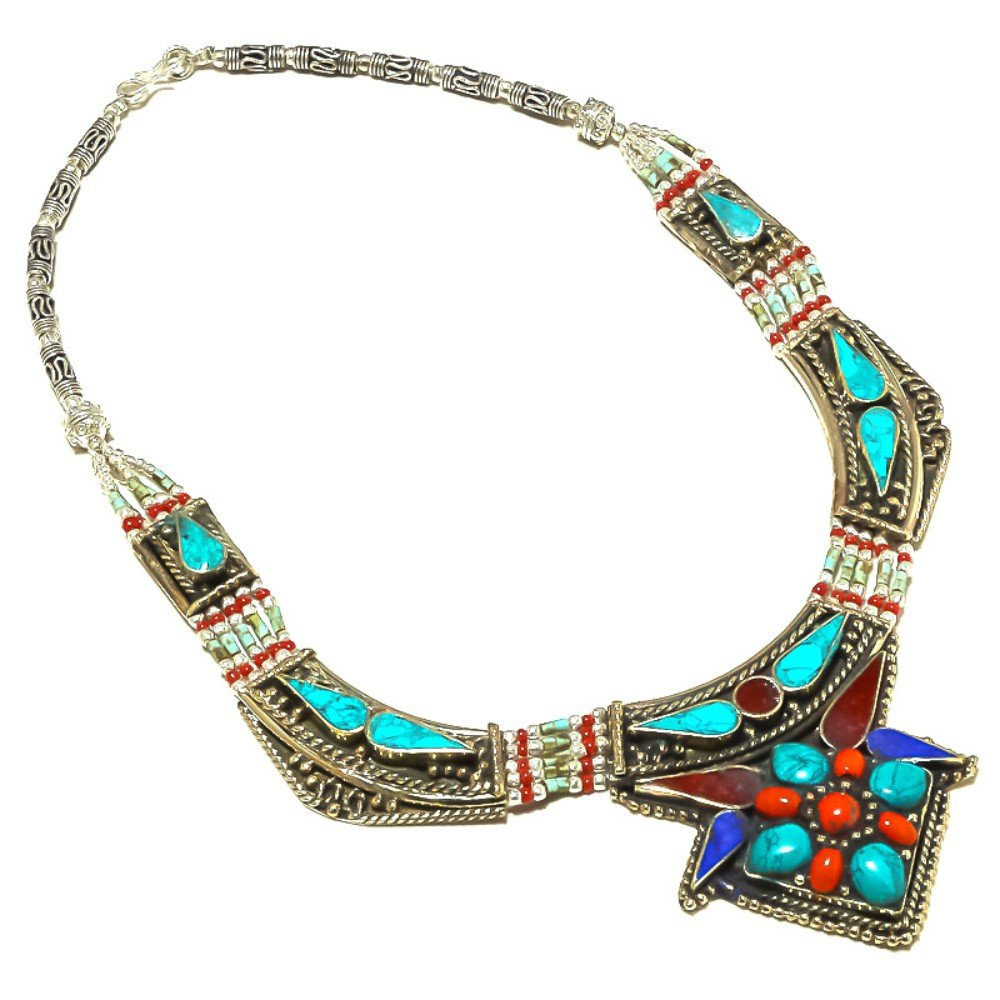 Blue Turquoise Lapis Nepali Work Jewelry Red Coral Sterling Silver Overlay 95 Grams Necklace 18