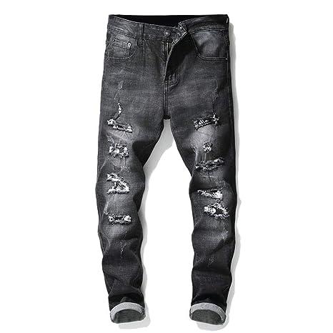 Jeans de hombre Pantalones ajustados elásticos de mezclilla ...