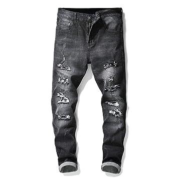 Fengbingl Pantalones Ajustados elásticos de Mezclilla ...