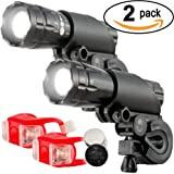 O RLY 2 Pack Ultra Bright 500Lumen LED (Headlights+Tail Light) Flashlight with Clip Mount for Bicycle Cycling Camping Torch