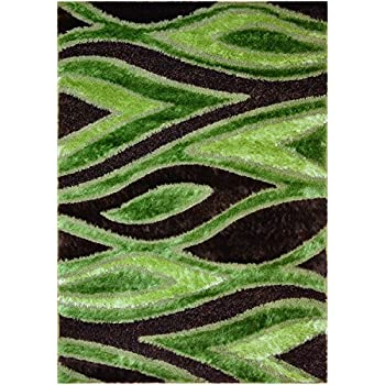 Green Brown Lime Green Contemporary Design Shaggy Area Rug 6025 3 X5