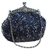 Chicastic Fully Sequined Mesh Beaded Antique Style Wedding Evening Formal Cocktail Clutch Purse - Blue