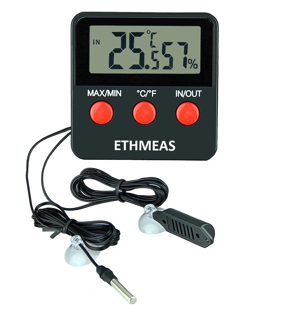 ETHMEAS Digital Thermometer and Hygrometer for Reptiles Terrarium pet keeping, Digital Indoor Outdoor Temperature Gauge and Humidity