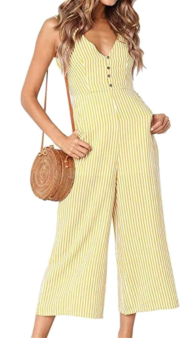 BOBOYU Women Loose Fit Casual Stripe Print V Neck Fashion Sleeveless Jumpsuit Romper