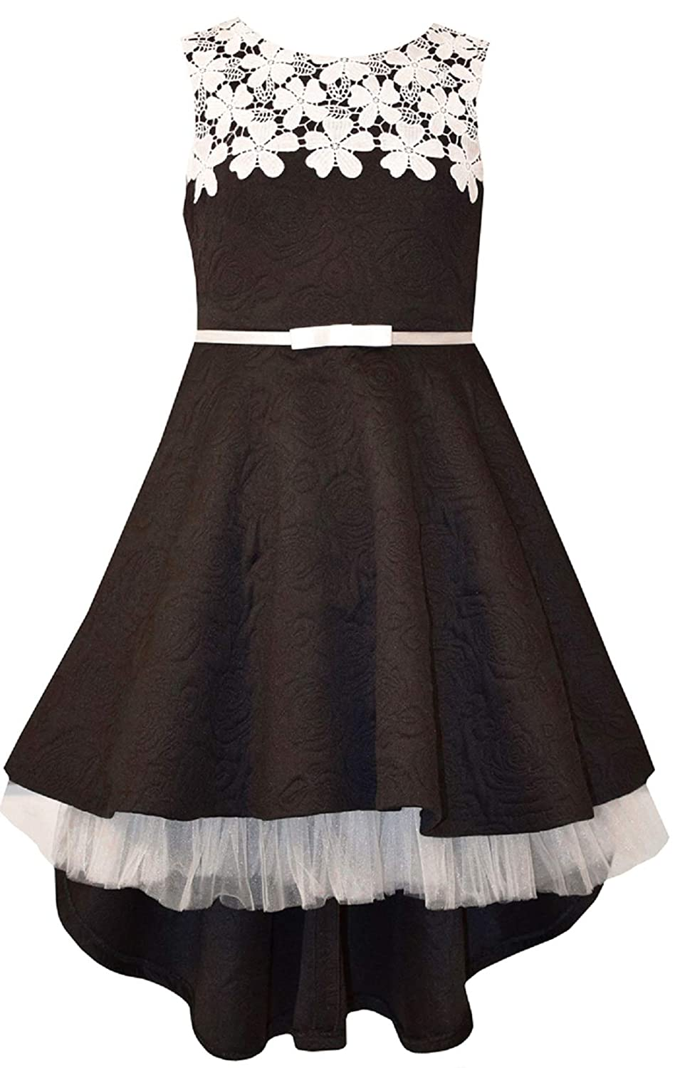 947eedd0e6624 Amazon.com: Bonnie Jean Big Girls 7-16 Sleeveless Lace belted High low Dress  - Black Party Dress: Clothing