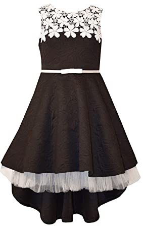 2147a08f1b466 Bonnie Jean Big Girls 7-16 Sleeveless Lace belted High low Dress - Black  Party