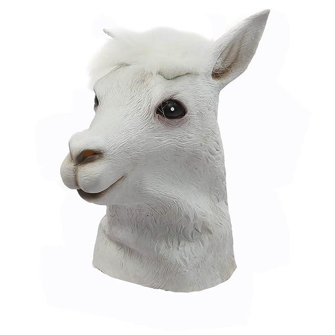 Máscara de látex de alpaca cabeza del traje de vestido de lujo del partido de Halloween: Amazon.es: Electrónica