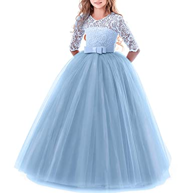 2a754c58845 IWEMEK Girls Tulle Lace Flower Wedding Bridesmaid Dress Floor Length Half  Sleeve Princess Long A Line