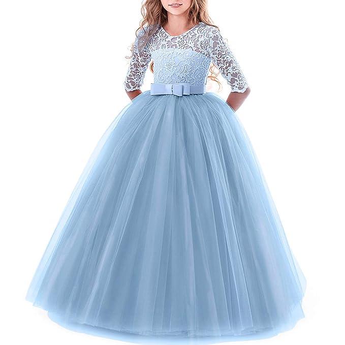 Vestido de Princesa del Desfile con Encajes sin Mangas Falda de Fiesta para Niñas Azul 5