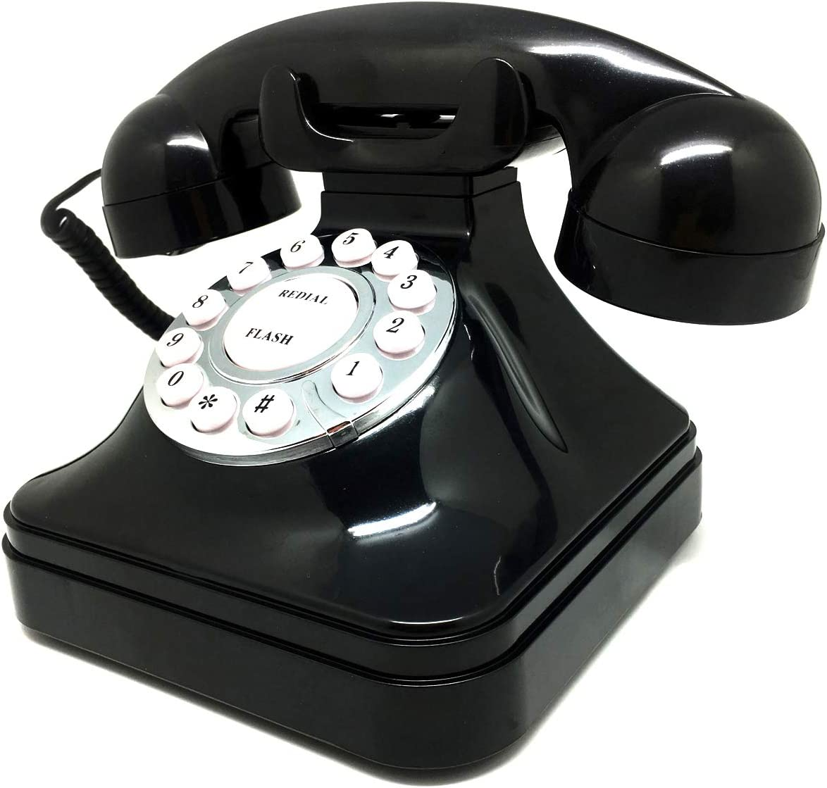 Asiawill Retro Vintage Antique Telephone Landline Home Office Desktop Phone Retro Wired Landline Phone Telephone - Black