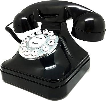 Asiawill - Teléfono fijo retro con cable, color negro: Amazon.es: Electrónica