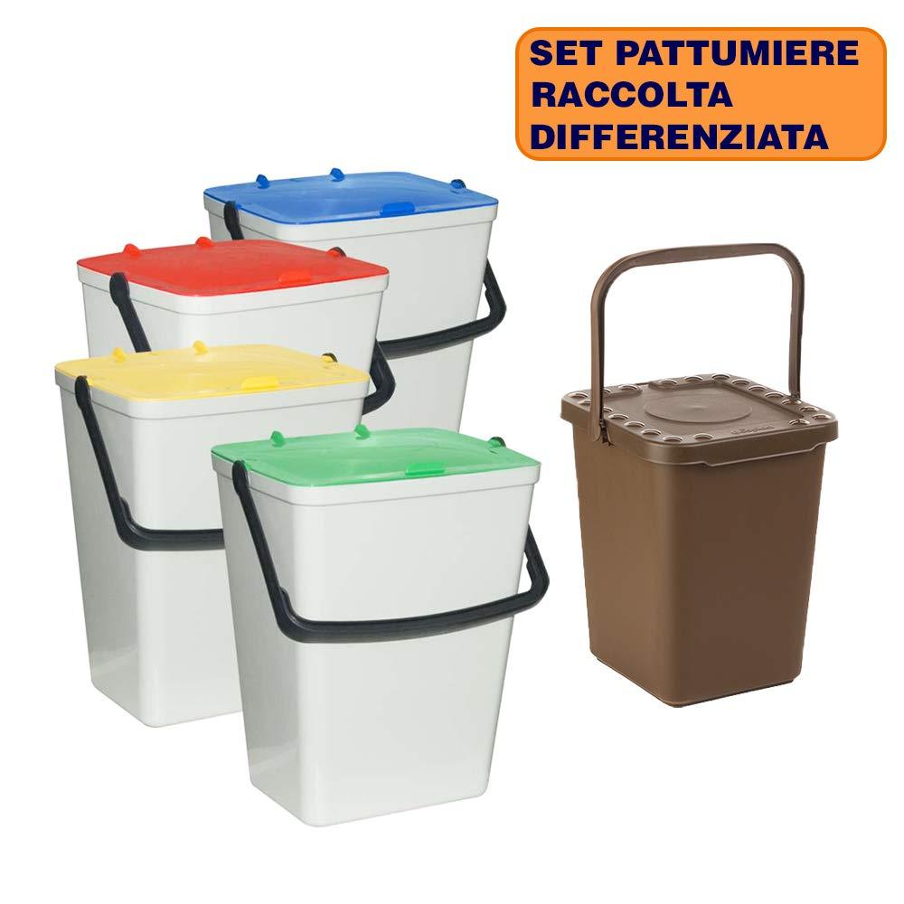 in Omaggio pattumiera per la Raccolta rifiuti organici Raccolta rifiuti bidoni con Manico BuyStar Set 4 pattumiere Chiuse per la Raccolta differenziata