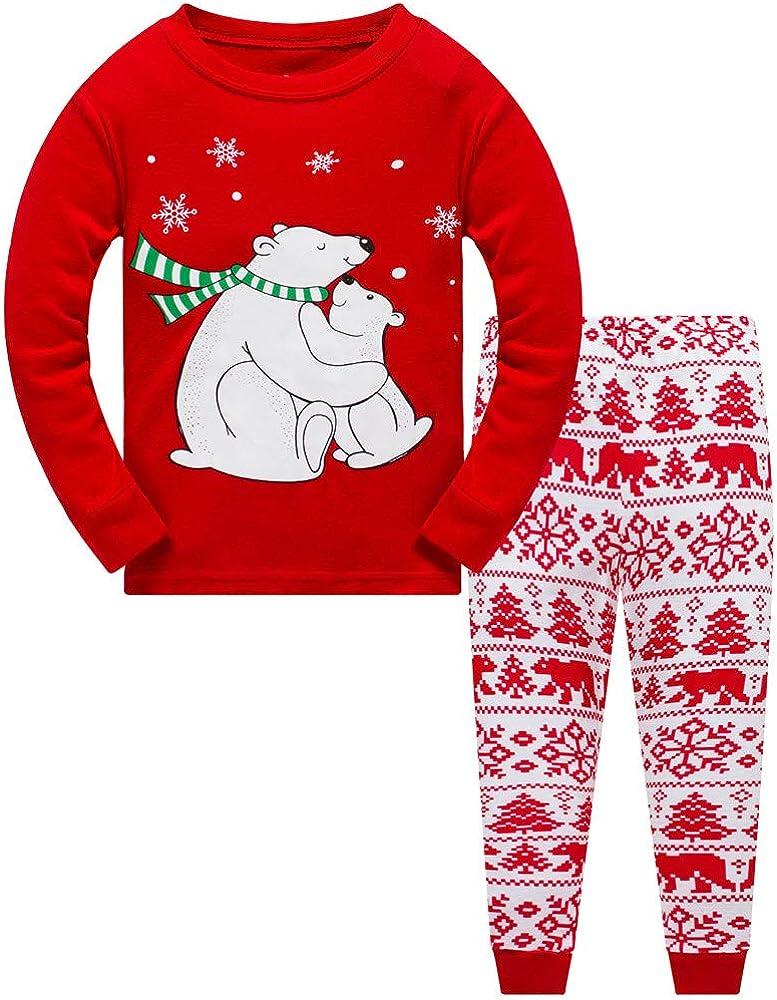 Popshion pijama de Navidad para niños con dinosaurio y pijamas de ...