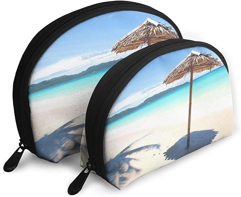Idílica Playa Blanca Frente al mar Turquesa Tropical Bolsas portátiles Bolsa de Maquillaje Bolsa de Aseo Bolsas de Viaje portátiles multifunción
