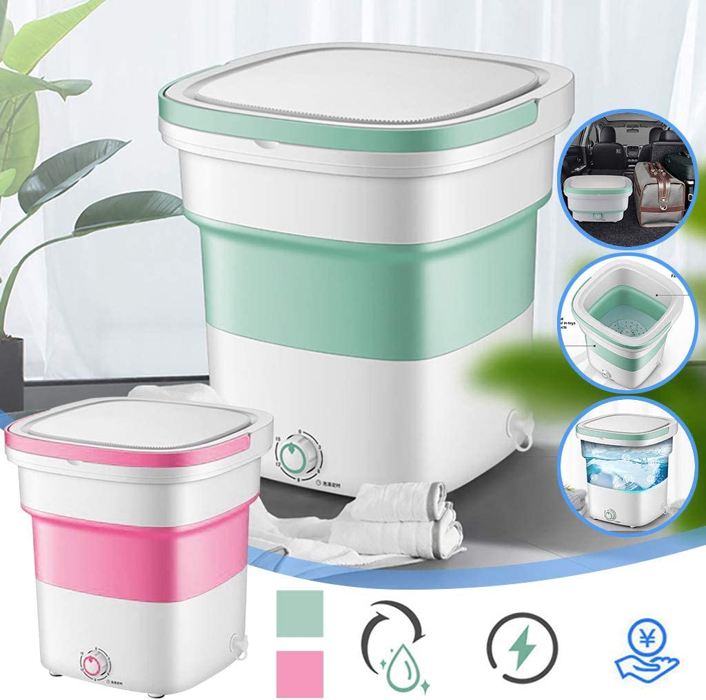 USB Cable Low Noise Green 2020 New Folding Fully automatic Laundry Machine Upgraded Portable Washing Machine Dorms Apartments,Business Trips Turbine Washer Mini Washing Machine for Camping