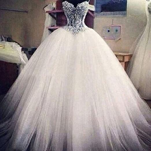 Ice Beauty Pearl Beads Vintage Corset Ball Gown Tulle Wedding Dresses Bridal Gowns at Amazon Womens Clothing store:
