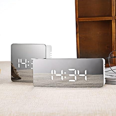slgjyy multifunción de LED de Espejo Reloj despertador digital Snooze pantalla tiempo Luz nocturna de sobremesa