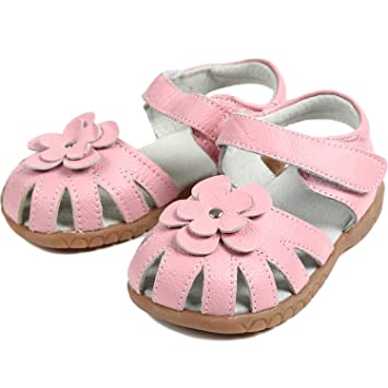 ebf7b2244a040 Amazon.com: 【Dream Studio】Girls Genuine Leather Solid Flower ...