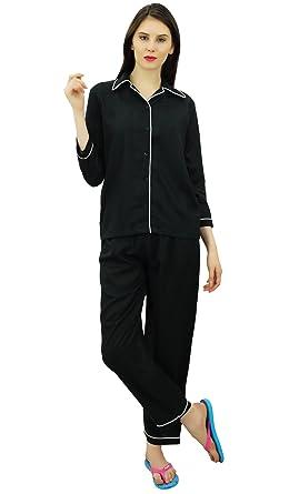Bimba Button-Down Shirt with Elastic Waist Pajama Pants 2 Pcs Full Sleeve Night  Wear Set Black  Amazon.co.uk  Clothing daaf14bd8
