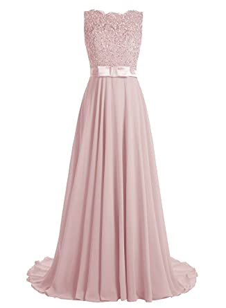 Dressystar Long Bridesmaid Lace Appliques Prom Dresses Scoop Party Gowns Backless Size 2 Blush