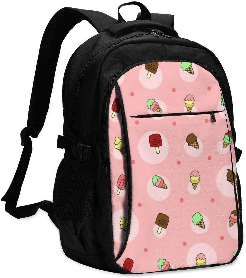 asfg Resistente a Las Manchas Ice Cream Doodle Girly Multifunctional Personalized Customized USB Backpack, Student School Outdoor Backpack,Travel Bag Laptop Bookbags Business Daypack.