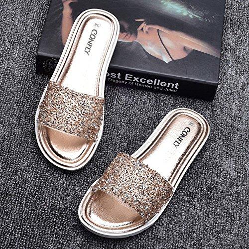 moda scivolo Colore donna 1002 colore EU37 Diamante pantofole sandali CN37 4 di 5 Flat nuova CN39 UK4 confortevole multi Estate Elegante LISABOBO Dimensioni EU39 anti opzionale UK6 C8Enwqaftx