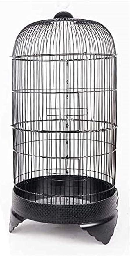 Jaula dpájaros duradera y ecológica, Loro jaula pájaros pájaros pequeño y medio metal loro perla pájaro jaula creativo redondo canario pájaro jaula portátil pájaro pequeño tamaño aves viajes jaula mas