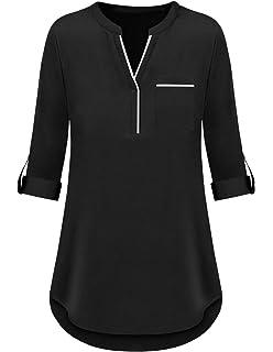c568882fd Mavis Laven Women's Henley Casual Chiffon V Neck 3/4 Cuffed Sleeve Blouse  Tops