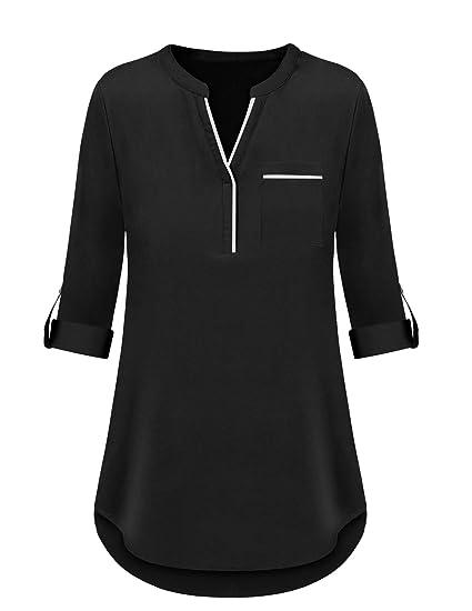9b8b78fe3 Mavis Laven Women's Henley Casual Chiffon V Neck 3/4 Cuffed Sleeve ...
