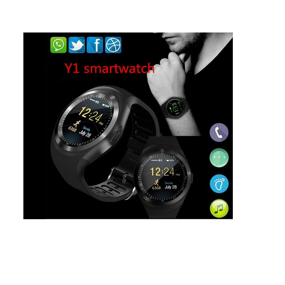 Smart Watch Y1 Bluetooth Phone Mate Sim Card Round Touch Screen For Ios Androidmulticolor Cell Phones Accessories