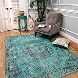 "Maxy Home Valencia Premium (20'' x 31"") Shed Free Easy Care Stain Fade Resistant Contemporary Antique Teal Traditional Vintage Bohemian Bedroom, Living room, Kitchen Small Doormat Accent Rug"