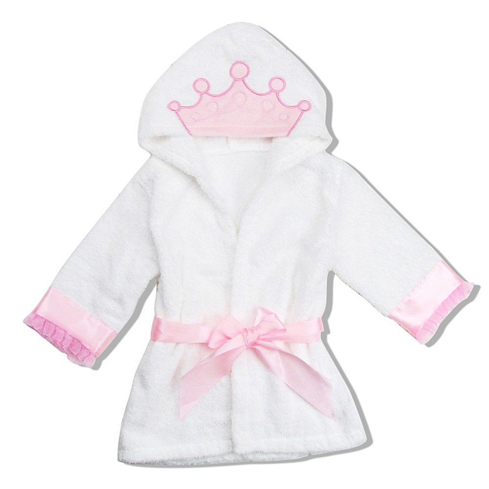 BOZEVON Kids New Born Baby Dressing Gown Bath Robe Hooded Poncho Soft Cotton Cute Animals Beach Pool Towel Bathrobes Sleepwear Homewear for Boys and Girls