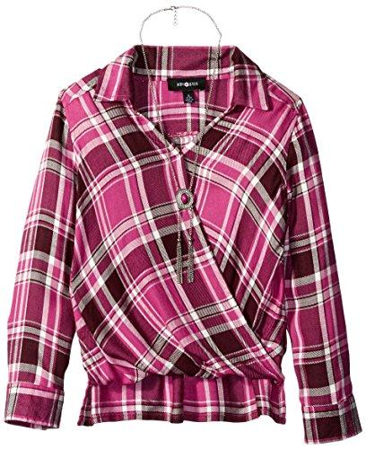 Amy Byer Girls' Big Plaid Long Sleeve Wrap Front Top, Plum, ()