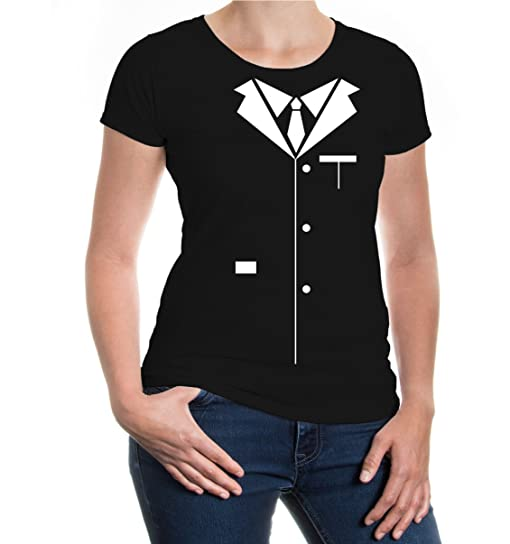 buXsbaum Girlie T-Shirt Smoking Suit-XS-Black-White