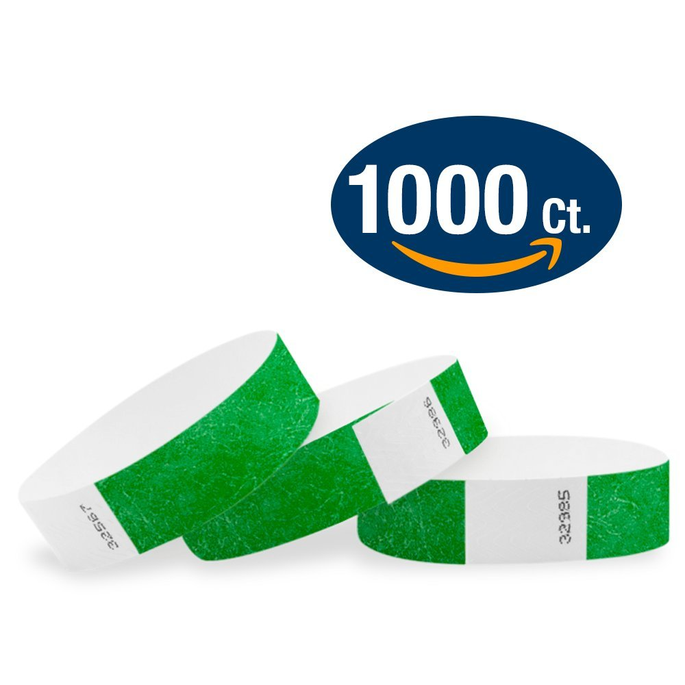 WristCo Kelly Green 3/4'' Tyvek Wristbands - 1000 Pack Paper Wristbands For Events