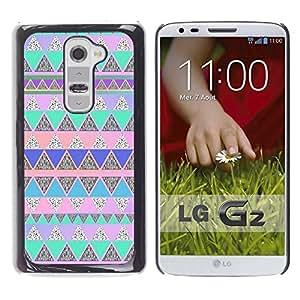 FlareStar Colour Printing Polygon Blue Pink Native American cáscara Funda Case Caso de plástico para LG G2 / D800 / D802 / D802TA / D803 / VS980 / LS980