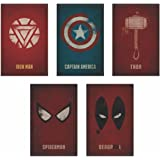AdINFINITUM Marvel Superhero 300GSM Paper Posters(8x12-inches, Multicolour) - Pack of 5