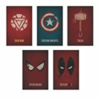 AdINFINITUM Marvel Superhero 300GSM Paper Posters(8x12-inches, Multicolour) - Pack of 5
