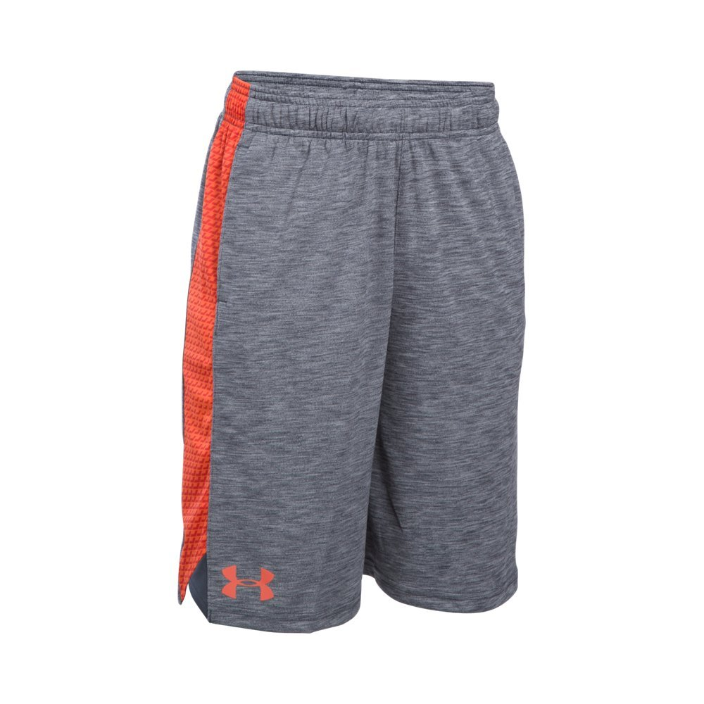 Under Armour Boys' Eliminator Printed Shorts, Stealth Gray/Volcano, Youth X-Small by Under Armour