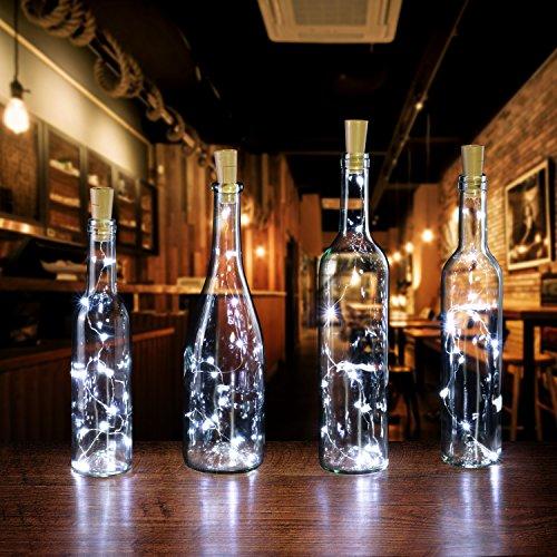 Cork shape lights, AGPtek 3PCS Bottle Mini String Lighting 75cm/30inch Copper Wire light Starry Light For Bottle DIY, Christmas Wedding and Party Halloween (White(6pcs))