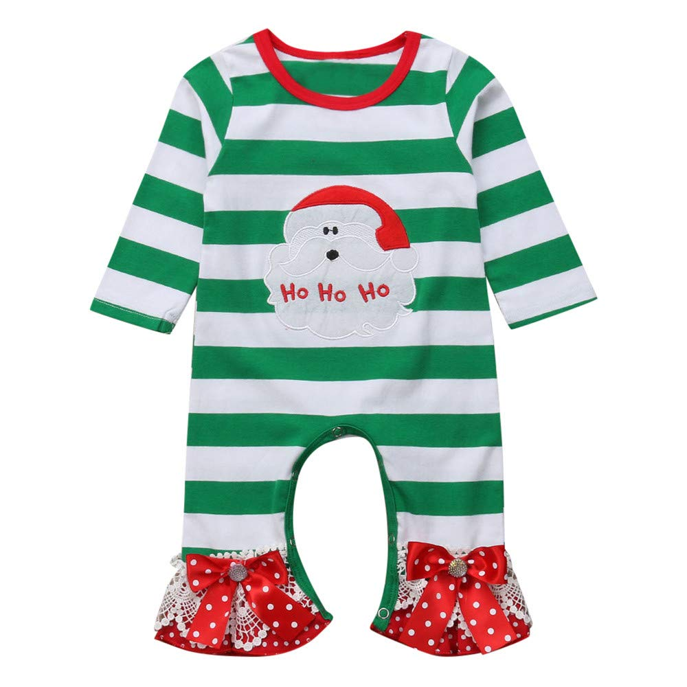 Gornorriss Baby Rompers Infant Girls Christmas Santa Print Striped Jumpsuit Outfit Clothes