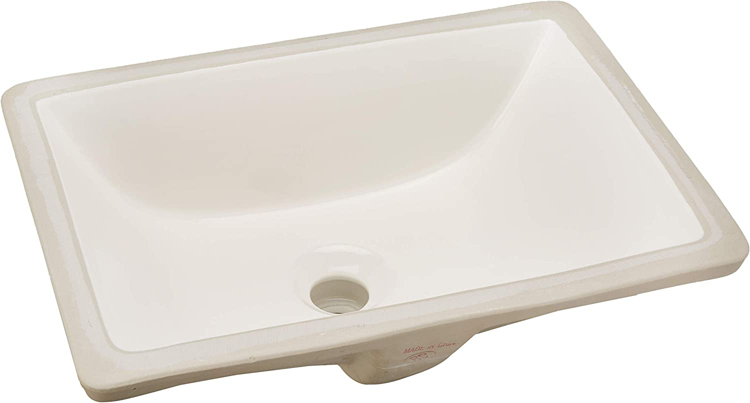 White AWESON Under-Mount Bathroom Sink 16x11 16-Inch by 11-Inch Rectangle Ceramic Undermount Vanity Sink